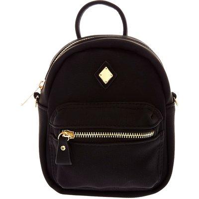 Mini Faux Leather Black Crossbody Backpack