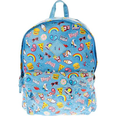 Denim Rainbow Print Backpack