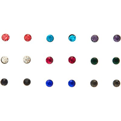 9 Pack Coloured Stone Stud Earring Set, Black