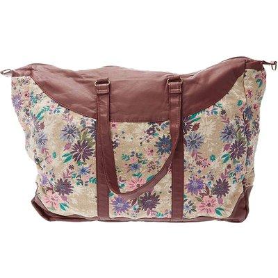 Floral Print Weekend Bag, Cream/Red