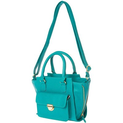 Parker Teal Faux Leather Mini Satchel Bag