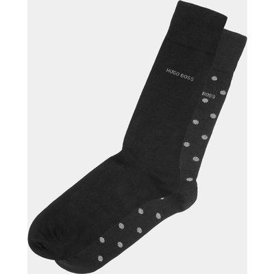 Hugo Boss Plain Black Spot Two Pack Socks