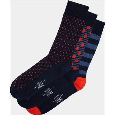 Moss 1851 Navy & Orange 3-Pack Socks