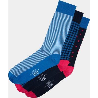 Moss 1851 Navy & Pink 3-Pack Socks
