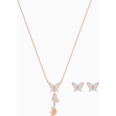 Lilia Set, White, Rose-gold tone plated