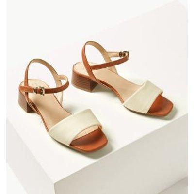 M&S Womens Ankle Strap Block Heel Sandals - 8.5 - Tan, Tan