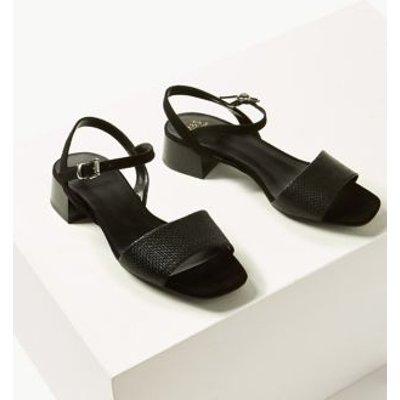 M&S Womens Ankle Strap Block Heel Sandals - 8.5 - Black Mix, Black Mix