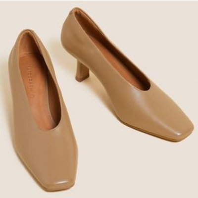 M&S Autograph Womens Leather Slip On Square Toe Court Shoes - 3.5 - Natural, Natural,Black