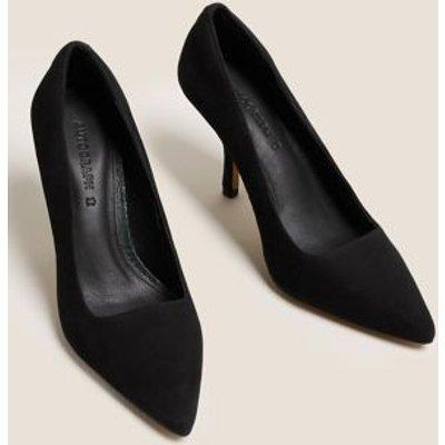 M&S Autograph Womens Suede Stiletto Heel Pointed Court Shoes - 3.5 - Black, Black