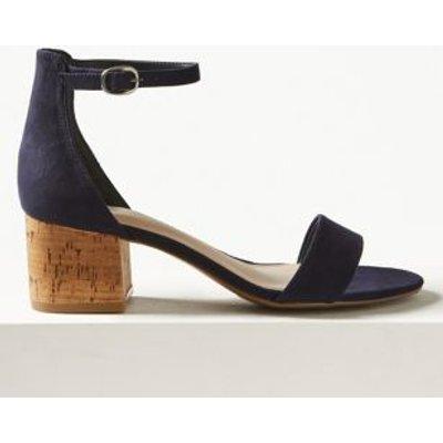 M&S Womens Wide Fit Block Heel Sandals - 3.5 - Navy, Navy,Black