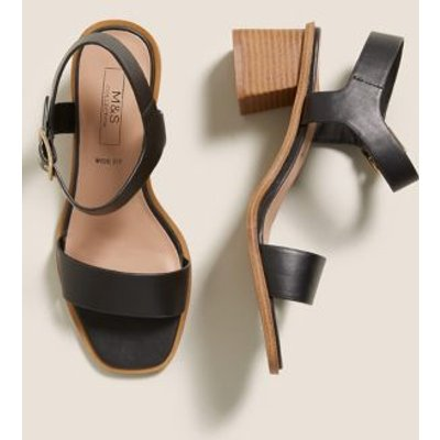 M&S Womens Wide Fit Ankle Strap Block Heel Sandals - 3 - Black Mix, Black Mix,Tan
