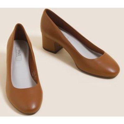 M&S Womens Wide Fit Block Heel Court Shoes - 5.5 - Topaz, Topaz