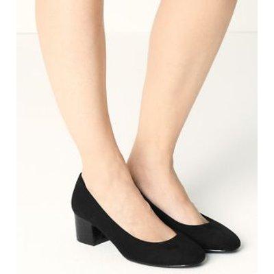 M&S Womens Wide Fit Block Heel Court Shoes - 3 - Black, Black,Navy