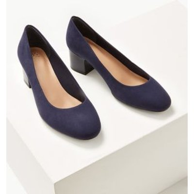 M&S Womens Wide Fit Block Heel Court Shoes - 8.5 - Navy, Navy