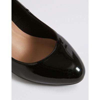 M&S Womens Wide Fit Stiletto Heel Court Shoes - 3 - Black Patent, Black Patent