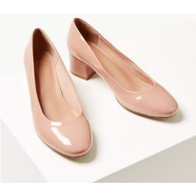 M&S Womens Wide Fit Patent Block Heel Court Shoes - 3.5 - Nude, Nude