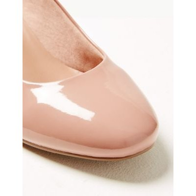 M&S Womens Wide Fit Court Shoes - 8.5 - Nude, Nude