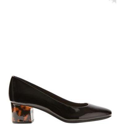 M&S Womens Wide Fit Block Heel Court Shoes - 3.5 - Black Patent, Black Patent