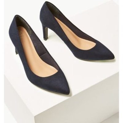 M&S Womens Wide Fit Stiletto Heel Pointed Court Shoes - 3.5 - Navy, Navy