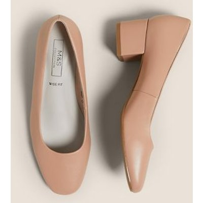 M&S Womens Wide Fit Block Heel Court Shoes - 3 - Caramel, Caramel