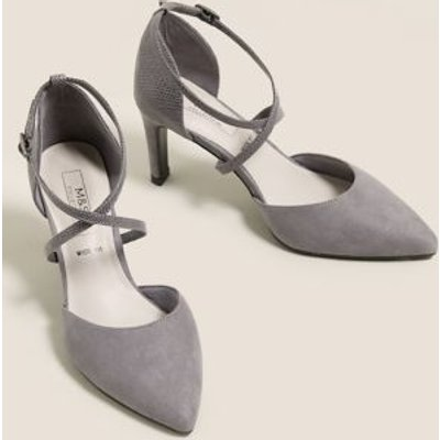 M&S Womens Wide Fit Stiletto Heel Court Shoes - 3.5 - Anthracite, Anthracite