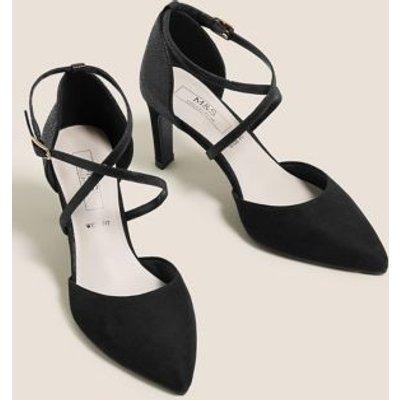 M&S Womens Wide Fit Stiletto Heel Court Shoes - 3 - Black, Black,Anthracite