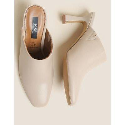 M&S Womens Leather Square Toe Mule Court Shoes - 4 - Porcelain, Porcelain,Black