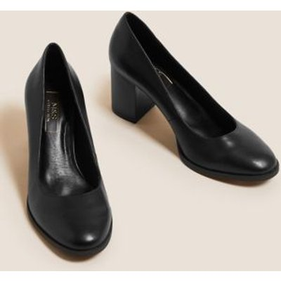 M&S Womens Block Heel Court Shoes - 3.5 - Black, Black
