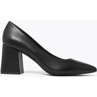M&S Womens Block Heel Pointed Court Shoes - 3 - Black, Black