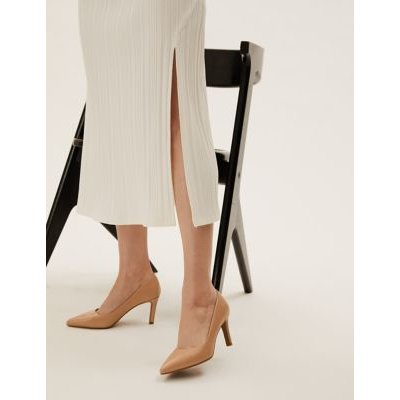 M&S Womens Stiletto Heel Pointed Court Shoes - 3 - Nude, Nude