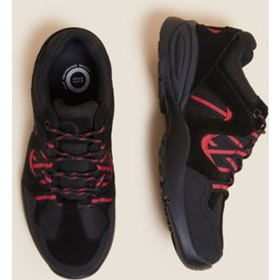 M&S Goodmove Womens Suede Water Resistant Lace Up Walking Shoes - 3 - Black, Black