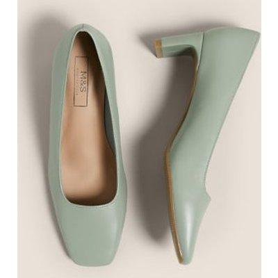 M&S Womens Kitten Heel Square Toe Court Shoes - 3 - Soft Green, Soft Green,Black