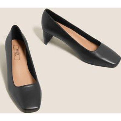 M&S Womens Kitten Heel Square Toe Court Shoes - 3 - Black, Black,Black Patent