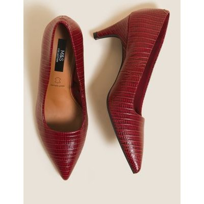 M&S Womens Leather Slip On Pointed Court Shoes - 7.5 - Dark Red, Dark Red,Black