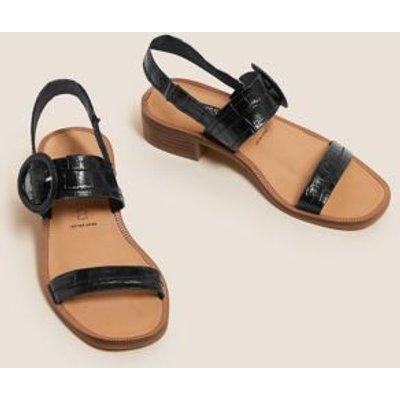 M&S Womens Leather Ankle Strap Block Heel Sandals - 3 - Black, Black,Stone
