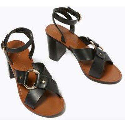 M&S Womens Leather Ring Detail Block Heel Sandals - 3.5 - Black, Black,Stone