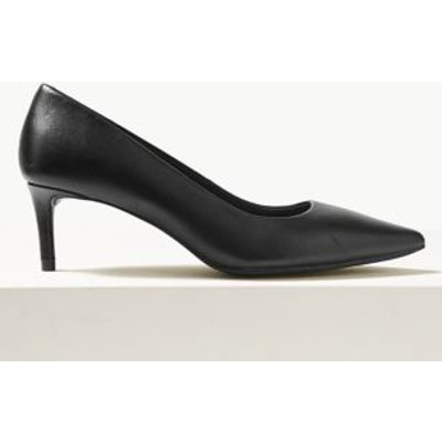 M&S Womens Leather Kitten Heel Court Shoes - 3.5 - Black, Black,Nude