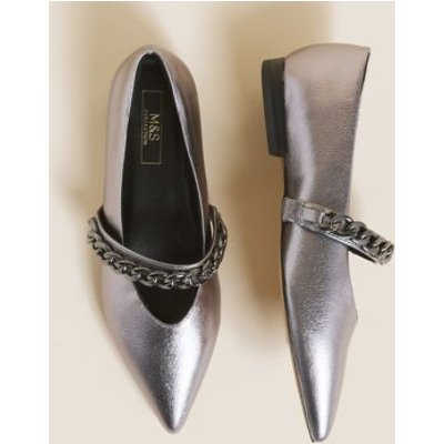 M&S Womens Trim Chain Pointed Ballet Pump - 4 - Pewter, Pewter