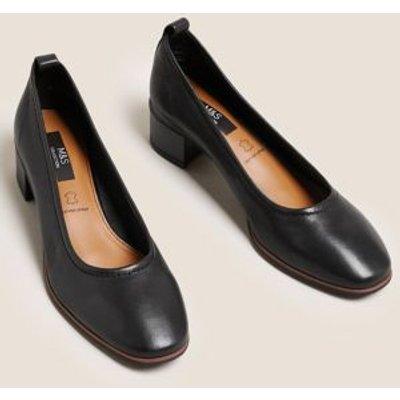 M&S Womens Leather Slip On Block Heel Court Shoes - 3.5 - Black, Black,Mid Blue,Pink