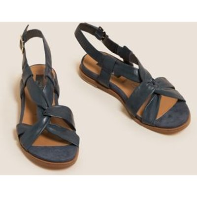 M&S Womens Wide Fit Leather Knot Gladiator Sandals - 3 - Navy, Navy