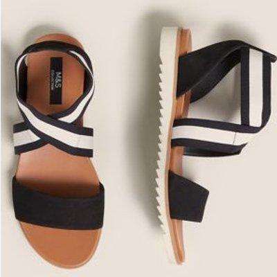 M&S Womens Wide Fit Leather Ankle Strap Flat Sandals - 3 - Black Mix, Black Mix,Black,Neutral
