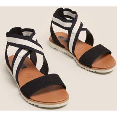 M&S Womens Wide Fit Leather Ankle Strap Flat Sandals - 3 - Black Mix, Black Mix,Neutral