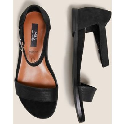 M&S Womens Wide Fit Suede Ankle Strap Flat Sandals - 3 - Black Mix, Black Mix,Taupe Mix