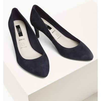 M&S Womens Wide Fit Suede Stiletto Heel Court Shoes - 3.5 - Navy, Navy,Black