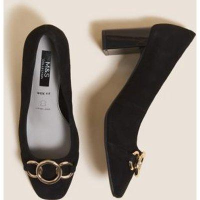 M&S Womens Wide Fit Suede Block Heel Court Shoes - 3.5 - Black, Black,Grey