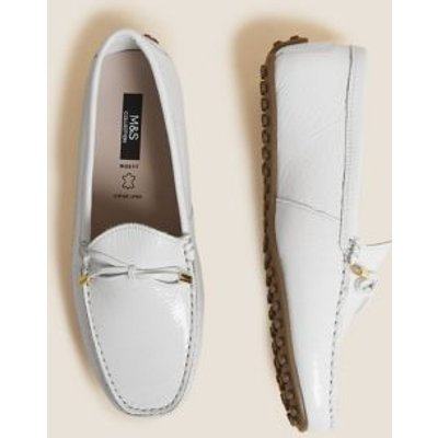 M&S Womens Wide Fit Leather Bow Boat Shoe - 3 - White, White,Tan