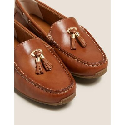 M&S Womens Wide Fit Leather Tassel Boat Shoes - 3 - Tan, Tan,Navy,White,Metallic