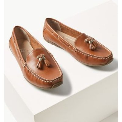M&S Womens Wide Fit Leather Tassel Boat Shoes - 8.5 - Tan, Tan,White,Navy