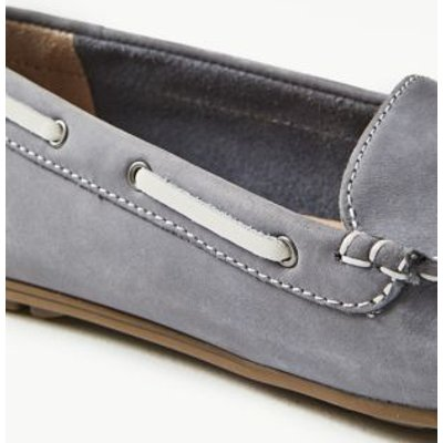 M&S Womens Wide Fit Leather Tassel Boat Shoes - 3.5 - Pale Blue, Pale Blue