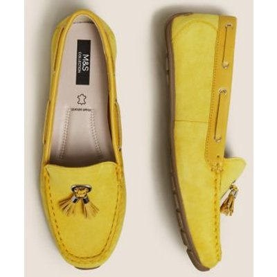 M&S Womens Wide Fit Leather Tassel Boat Shoes - 3.5 - Yellow, Yellow,Pale Blue